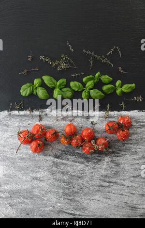 Gebackene Tomaten mit Basilikum und Thymian - Stock Image