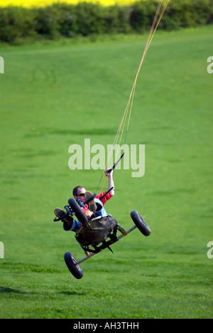 Power Kite Buggy at the Milton Keynes kite flying field Sherrington Newport Pagnell City of Milton Keynes - Stock Image