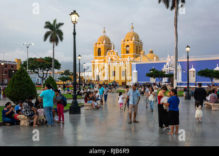 A view of the colonial style main square in Trujillo, Peru - Stock Image