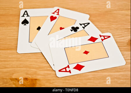 four aces poker playing cards - Stock Image
