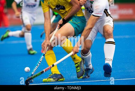 Krefeld, Germany, June 16 2019, hockey, men, FIH Pro League, Germany vs. Australia:  Players of (Australia, L) and (Germany) compete. - Stock Image