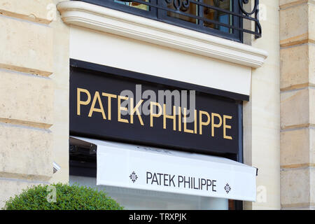 PARIS, FRANCE - JULY 21, 2017: Patek Philippe luxury store sign in place Vendome in Paris, France. - Stock Image