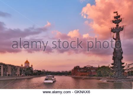 Summer cruise tours on the Moscow river. Landmark and sights of the Russian capital. - Stock Image