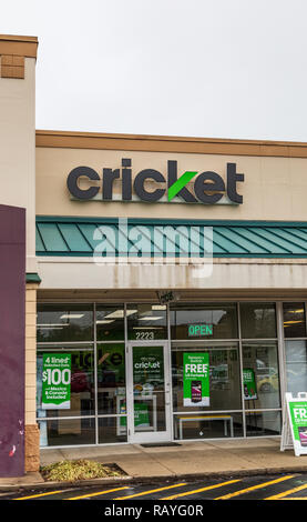 HICKORY, NC, USA-1/3/19: Cricket Wireless is a prepaid wireless service provider, owned by AT&T. - Stock Image