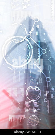 Vertical Panorama Banner. Business interface mixed media double exposure financial chart graph diagram and icon on virtual screen. Innovation concept - Stock Image
