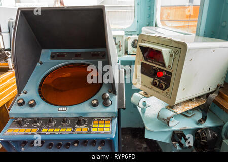 Navigation equipment on the Bridge of the Royal Yacht Britannia, Port of Leith, Edinburgh, Scotland, UK - Stock Image