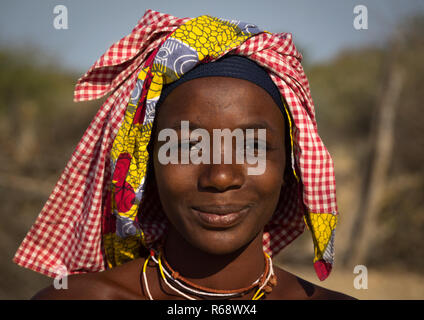 Portrait of a Mucubal tribe woman, Namibe Province, Virei, Angola - Stock Image