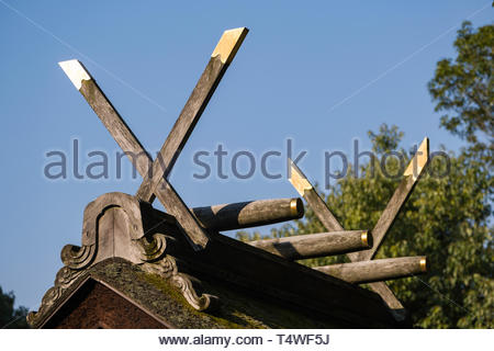 Detail of Chigi forked roof finials an architectural element endemic to Japan, Fushimi Inari Taisha Shinto shrine, Fukakusa Yabunouchicho, Fushimi Wa - Stock Image