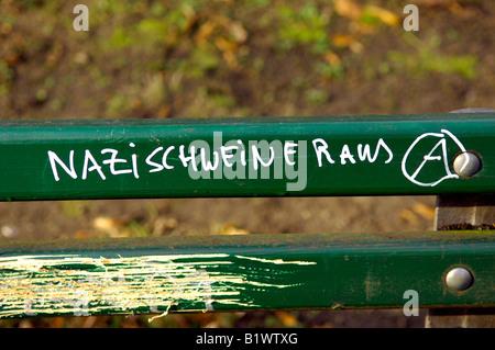 nazi schweine raus pigs out graffiti berlin anti fascist politics extreme radical german deutschland A anarchists - Stock Image