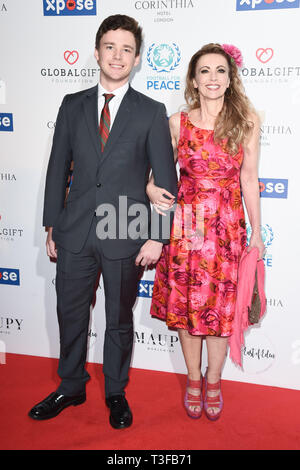 London, UK. 08th Apr, 2019. LONDON, UK. April 08, 2019: Emma Samms & Son arriving for the Football for Peace initiative dinner by Global Gift Foundation at the Corinthia Hotel, London. Picture: Steve Vas/Featureflash Credit: Paul Smith/Alamy Live News - Stock Image