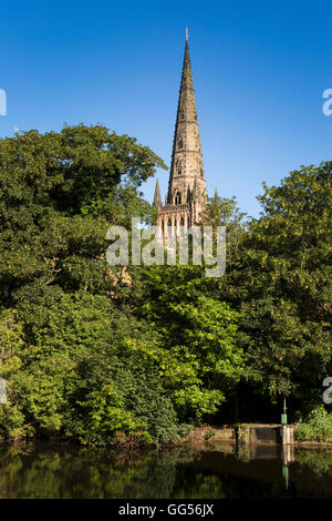 UK, England, Staffordshire, Lichfield, Cathedral central spire from Minster Pool - Stock Image