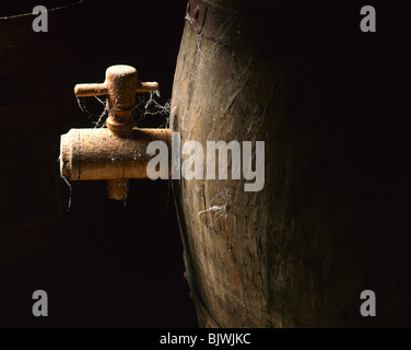 Wooden Barrel Close up - Stock Image