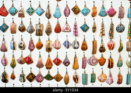 Selection of traditional turkish earrings on display in a store - Stock Image