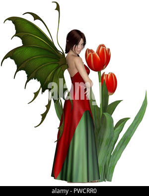 Dark Haired Red Tulip Fairy - Stock Image
