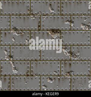 Metal tiles and wall - Stock Image
