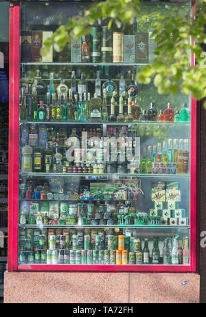 PRAGUE, CZECH REPUBLIC 16-04-2019: Alcoholic beverages glass bottles in outdoor - Stock Image