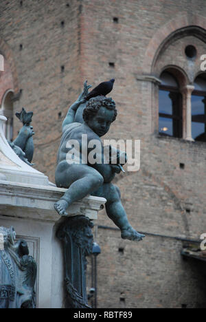 Fountain of Neptune in Bologna, Italy - Stock Image
