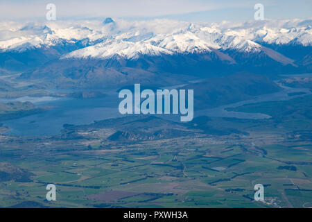 New Zealand's South Island, aerial view from commercial airplane - Stock Image