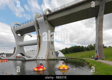The Falkirk Wheel and the Forth and Clyde Canal Falkirk Scotland - Stock Image