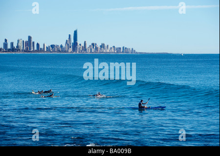 Surfing on the Gold Coast Queensland Australia - Stock Image