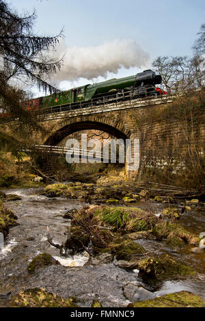 "Goathland, North York Moors, UK. 12th March, 2015. Following a £4.2 million overhaul, the LNER Class A3 ""Pacific"" - Stock Image"