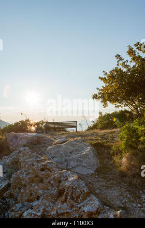 Bench on viewpoint, in a landscape, Lastovo, Croatia - Stock Image