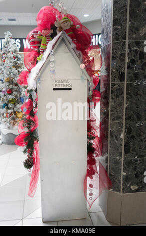 Christmas themed Letterbox for posting letters to Santa in a mall in Lindsay Ontario Canada - Stock Image