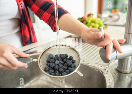 Woman rinses blueberries on the strainer with water in the kitchen with fruit bowl on the background. - Stock Image