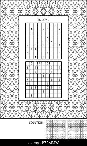 Puzzle and coloring activity page for grown-ups with two sudoku puzzles of comfortable level and wide decorative frame to color. Family friendly. - Stock Image