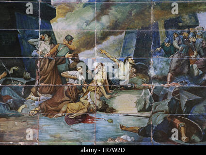 Siege of Numantia, 133 BC. Attack by roman forces. Spain. Glazed tile. Spain Square. Seville, Andalusia, Spain. - Stock Image
