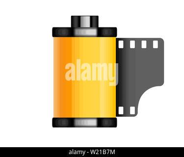 photographic film 35 mm roll retro camera illustration - Stock Image