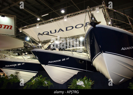 view from under the Aquador 28HT looking up at the bow on their display stand - Stock Image