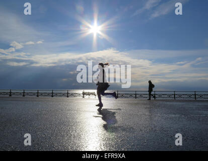 A female girl jogger runs along Hove Lawns promenade casting her shadow in the early morning sunlight beside the - Stock Image