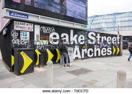 Signage outside the entrance to Leake Street Arches, Waterloo, Southwark, London, SE1, UK - Stock Image