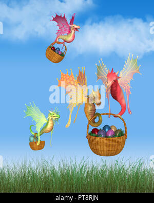 Cute Fairy Dragons Delivering Baskets of Easter Eggs - Stock Image