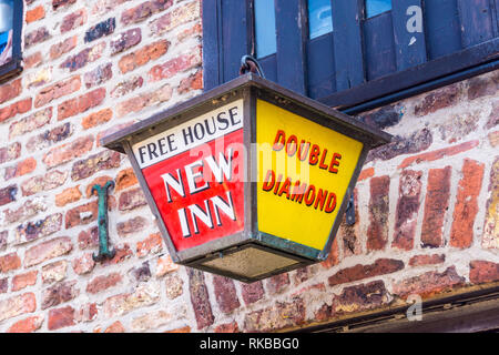 Hanging lantern sign outside Chequers micropub,Beverley, East Riding, Yorkshire, England - Stock Image