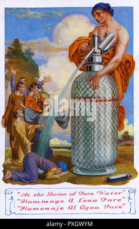 French Advertising Postcard - Bowing down in reverence at the 'shrine' of a Mineral Water Gas Soda Stream / Siphon.     Date: circa 1930s - Stock Image