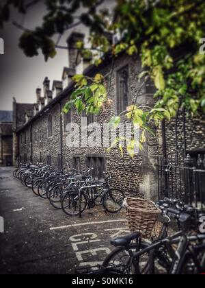 Cambridge, UK. Bicycles in the historic centre - Stock Image