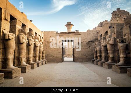 Ramses II statues, Karnak Temple, Karnak, Luxor, Egypt - Stock Image