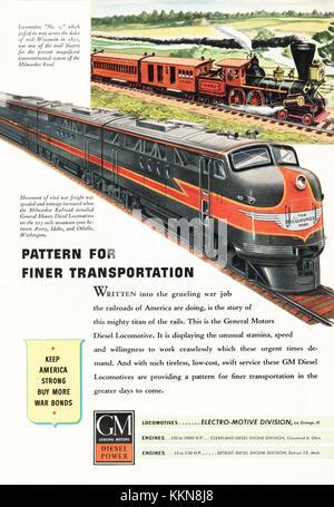 1943 U.S. Magazine General Motors Diesel Trains Advert - Stock Image