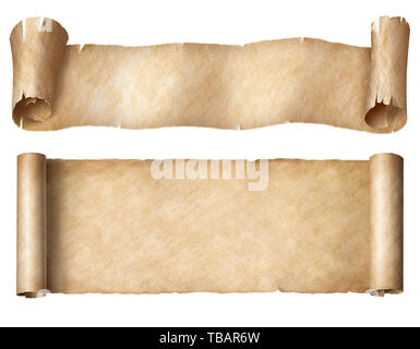 Narrow paper or parchment scrolls set isolated on white - Stock Image