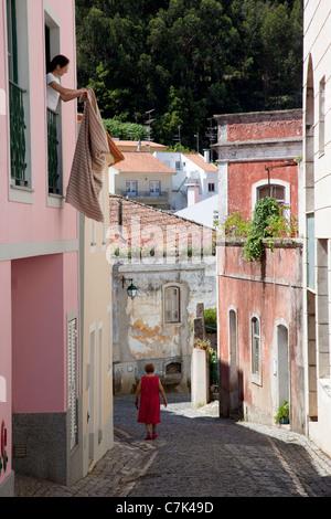Portugal, Algarve, Monchique, Backstreet & Local People - Stock Image