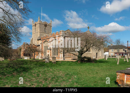 Bures Church Suffolk UK, view of the south side of St Mary's Church in the village of Bures on the Essex Suffolk border, England, UK. - Stock Image