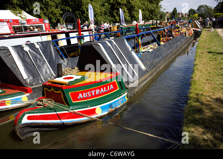 Traditional working narrowboat Australia, moored on the Trent and Mersey Canal during the 2011 Inland Waterways - Stock Image