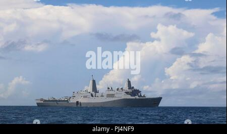180829-N-HG389-0068 ATLANTIC OCEAN (Aug. 29, 2018) Amphibious transport dock ship USS Arlington (LPD 24) participates in a visit, board, search and seizure (VBSS) drill during the Carrier Strike Group FOUR (CSG 4) Amphibious Ready Group, Marine Expeditionary Unit exercise (ARGMEUEX).  Kearsarge Amphibious Ready Group and 22nd Marine Expeditionary Unit are enhancing joint integration, lethality and collective capabilities of the Navy-Marine Corps team through joint planning and execution of challenging and realistic training scenarios.  CSG-4 mentors, trains and assesses East Coast units prepar - Stock Image