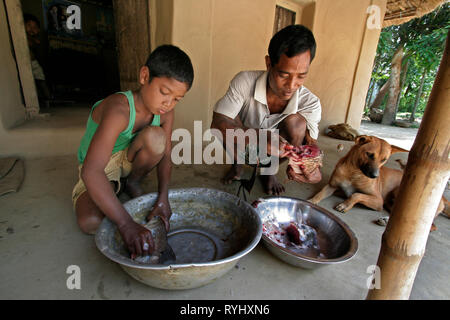 BANGLADESH Farid Pathang and son Homar of the Garo tribal minority, clean fish ready for cooking Garo tribal minority Haluaghat, Mymensingh region photo by Sean Sprague - Stock Image