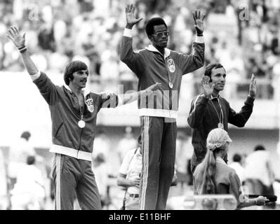 Jul 27, 1976; Montreal, Canada; Runner EDWIN MOSES wins Gold and sets new World Record in the 400 meter dash. Pictured (L) - Stock Image