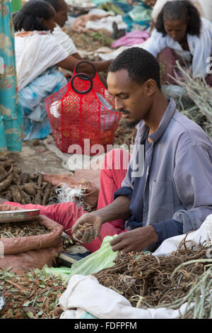 A man sorts bags of local produce in a busy market in Mekele, Ethiopia - Stock Image