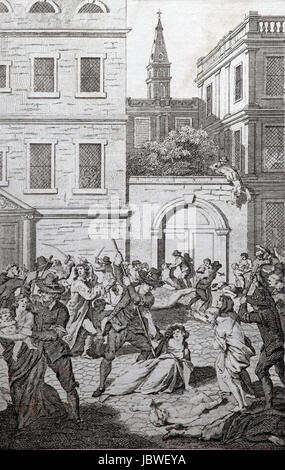 St Bartholomew's Day Massacre in Paris, 1572; Engraving from c 1780 edition of The New Book of Martyrs by Rev - Stock Image