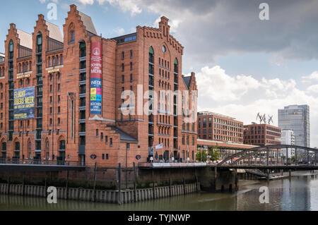 Historic Warehouse District buildings, including International Maritime Museum, Speicherstadt, Hamburg, Germany - Stock Image